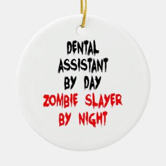 Ornement Rond En Céramique Assistant dentaire de tueur de zombi