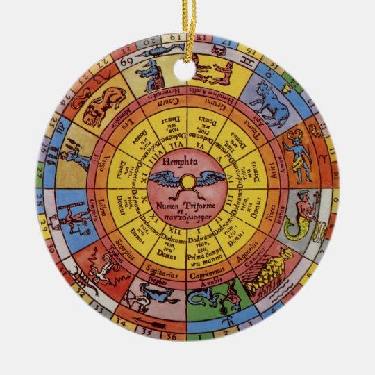 Ornement Rond En Céramique Astrologie antique vintage, roue céleste de