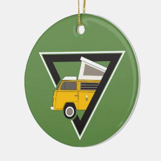 Ornement Rond En Céramique autobus jaune classique de triangle