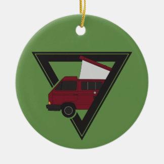 Ornement Rond En Céramique autobus marron de triangle