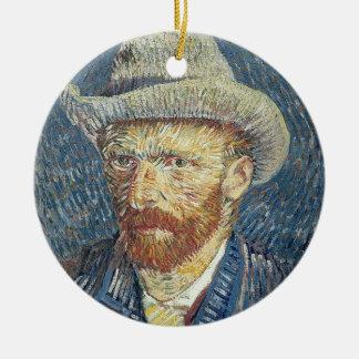 Ornement Rond En Céramique Autoportrait de Vincent van Gogh | avec le chapeau