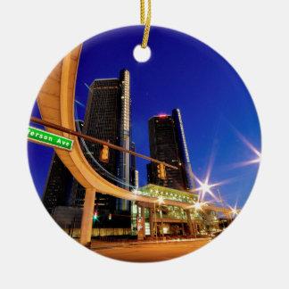Ornement Rond En Céramique Avenue de Detroit Michigan Jefferson