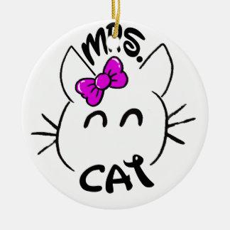 Ornement Rond En Céramique Baby Cat