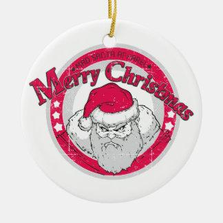 Ornement Rond En Céramique Bad Santa