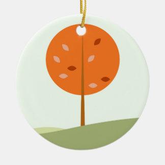 Ornement Rond En Céramique Badine le T-shirt avec l'orange d'arbre
