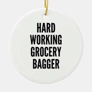 Ornement Rond En Céramique Bagger travaillant dur d'épicerie
