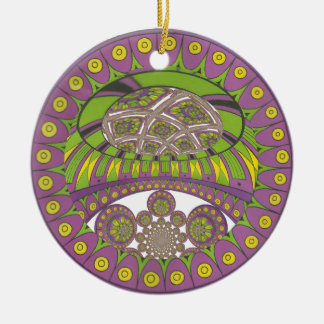 Ornement Rond En Céramique Bagout ethnique décoratif de prune de dentelle