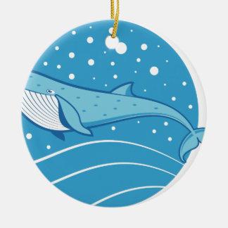 Ornement Rond En Céramique Baleine bleue