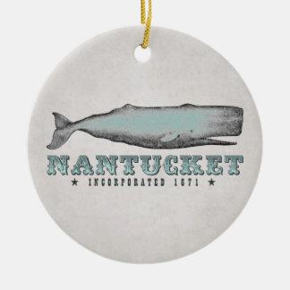 Ornement Rond En Céramique Baleine vintage personnalisée Nantucket le