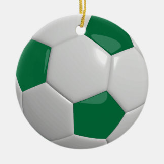 Ornement Rond En Céramique Ballon de football   vert-foncé