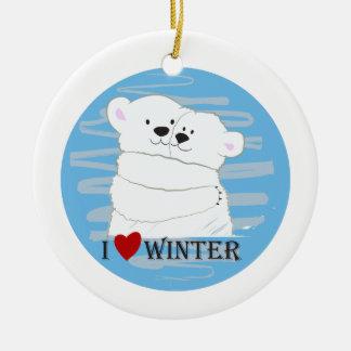 Ornement Rond En Céramique Bande dessinée blanche polaire d'étreinte d'hiver