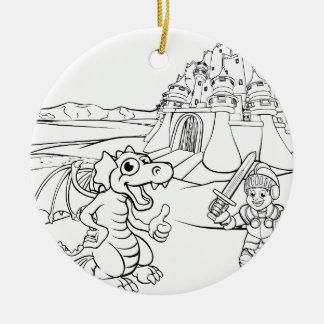 Ornement Rond En Céramique Bande dessinée de château de dragon et de