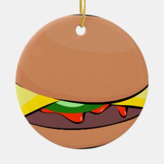 Ornement Rond En Céramique Bande dessinée de cheeseburger