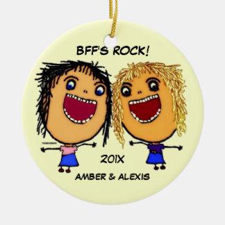 Ornement Rond En Céramique Bande dessinée de la roche de BFF