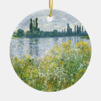 Ornement Rond En Céramique Banques de Claude Monet | de la Seine, Vetheuil,