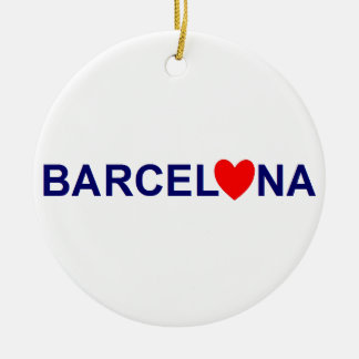 Ornement Rond En Céramique Barcelona love