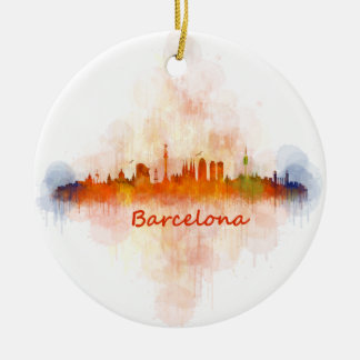 Ornement Rond En Céramique Barcelone Skyline watercolor v04