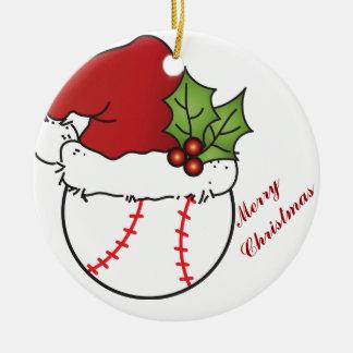 Ornement Rond En Céramique Base-ball de Noël de casquette de Père Noël