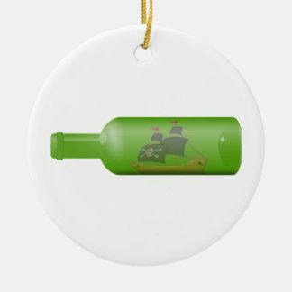 Ornement Rond En Céramique Bateau dans une bouteille