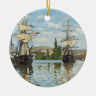Ornement Rond En Céramique Bateaux de Claude Monet | montant sur la Seine à