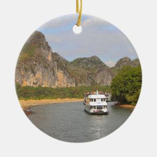 Ornement Rond En Céramique Bateaux sur la rivière de Li, Chine