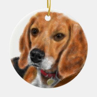 Ornement Rond En Céramique Beagle