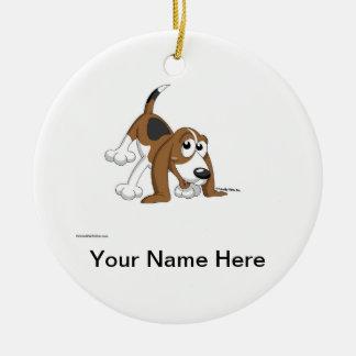 Ornement Rond En Céramique Beagle, Coonhound, Basset Hound