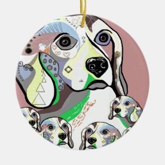 Ornement Rond En Céramique Beagle et palette de couleurs molle de bébés
