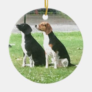 Ornement Rond En Céramique Beagles