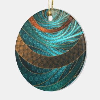 Ornement Rond En Céramique Beau cuir et bijoux bleus de fractale de turquoise
