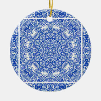 Ornement Rond En Céramique Beau motif bleu et blanc de tuile de mandala