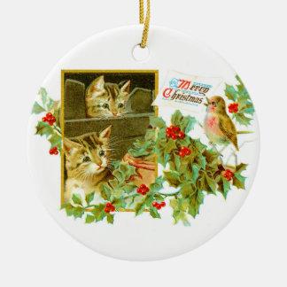 Ornement Rond En Céramique Beaux minous et Noël vintage mignon de Robin |