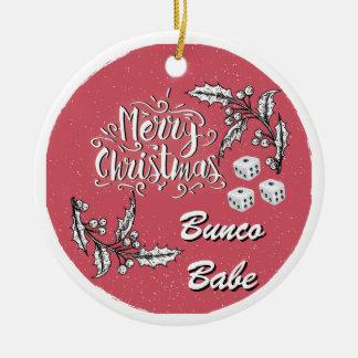 Ornement Rond En Céramique Bébé de Bunco de Joyeux Noël