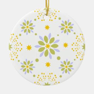 Ornement Rond En Céramique Belles fleurs et étoiles