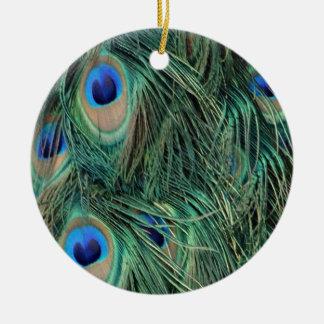Ornement Rond En Céramique Belles plumes de paon