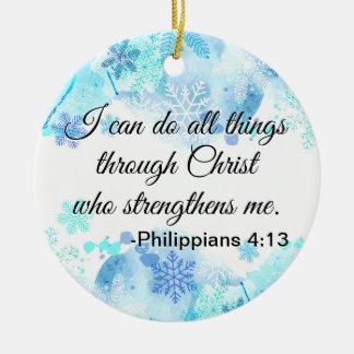 Ornement Rond En Céramique Bible chrétienne je peux faire tout le bleu de