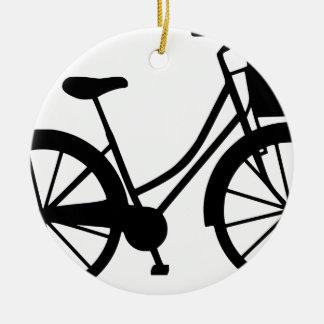 Ornement Rond En Céramique Bicyclette avec le panier