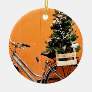 Ornement Rond En Céramique Bicyclette de Noël