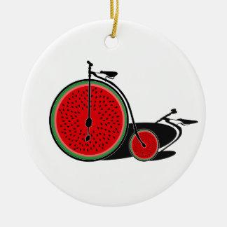 Ornement Rond En Céramique Bicyclette de pastèque