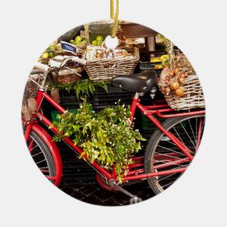 Ornement Rond En Céramique Bicyclette de récolte