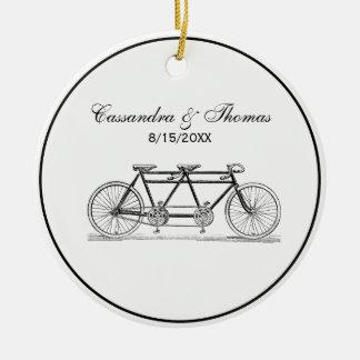 Ornement Rond En Céramique Bicyclette vintage construite pour deux/vélo