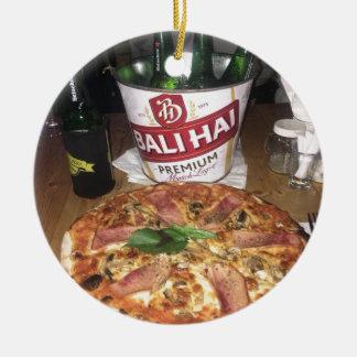 Ornement Rond En Céramique Bière et pizza de Bali