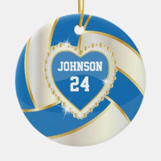 Ornement Rond En Céramique Bleu élégant, blanc et volleyball d'or