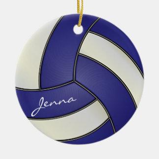 Ornement Rond En Céramique Bleu-foncé et blanc personnalisez le volleyball
