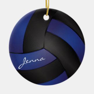 Ornement Rond En Céramique Bleu-foncé et noir personnalisez le volleyball