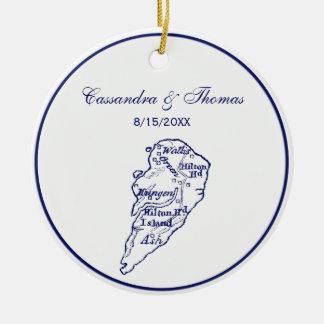 Ornement Rond En Céramique Bleu marine vintage de carte de Sc de Hilton Head