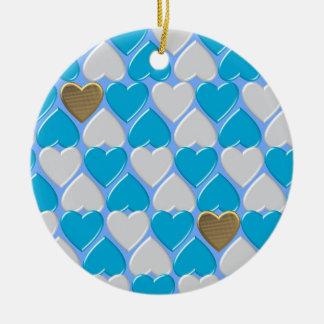Ornement Rond En Céramique Bleu, modèle bavarois blanc
