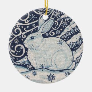 Ornement Rond En Céramique Bleu original et blanc de lapin de Noël d'hiver