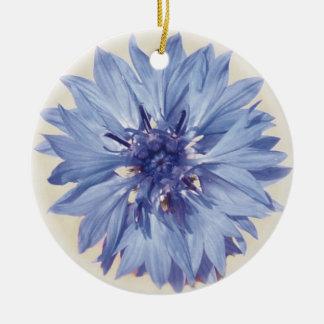 Ornement Rond En Céramique Bleuet