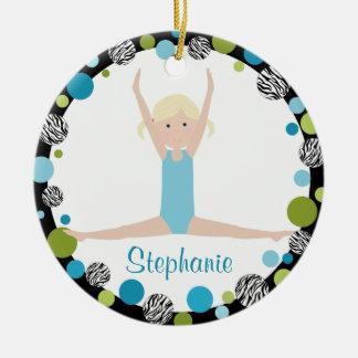Ornement Rond En Céramique Blonde de gymnaste d'étoile dans l'Aqua et le vert